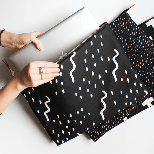 Waves Black Laptop Sleeve