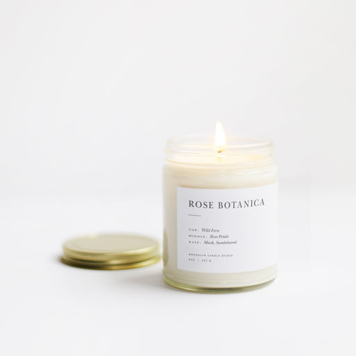 Musk, sandalwood, Rose Botanica Minimalist Candle, brooklyn candle studio, hand poured, soy candle, soy wax, vegan, cruelty free, all natural, all-natural