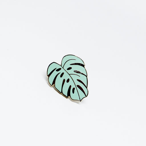 Monstera, plant, lapel pin, gold, green, vegan, cruelty free, Samantha Leung