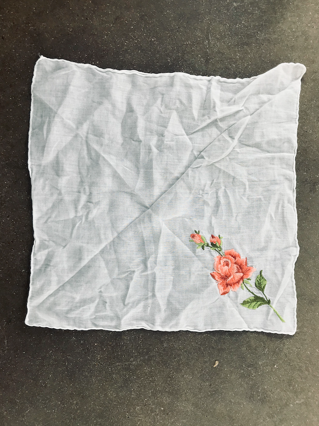 Vintage Hand Embroidered Pink Single Rose Handkerchief