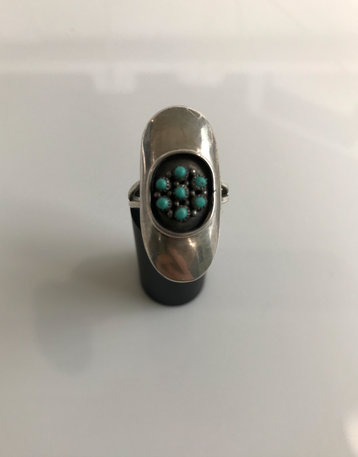 70s Turquoise Shadow Box Ring