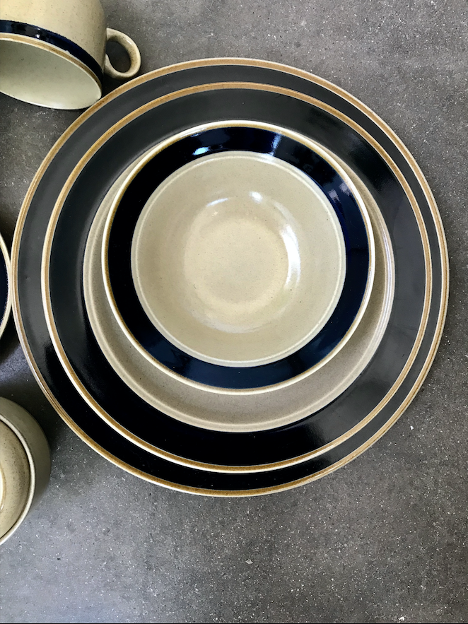 Vintage Blue Band Japanese Plate Set