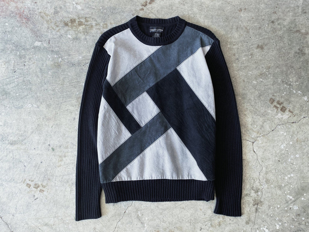 Black & Grey Patchwork Suede Sweater