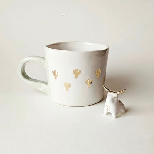 Handmade ceramic mug by Atavist Studio Ceramics, cactus mug, gold, white, vegan, cruelty free, all natural