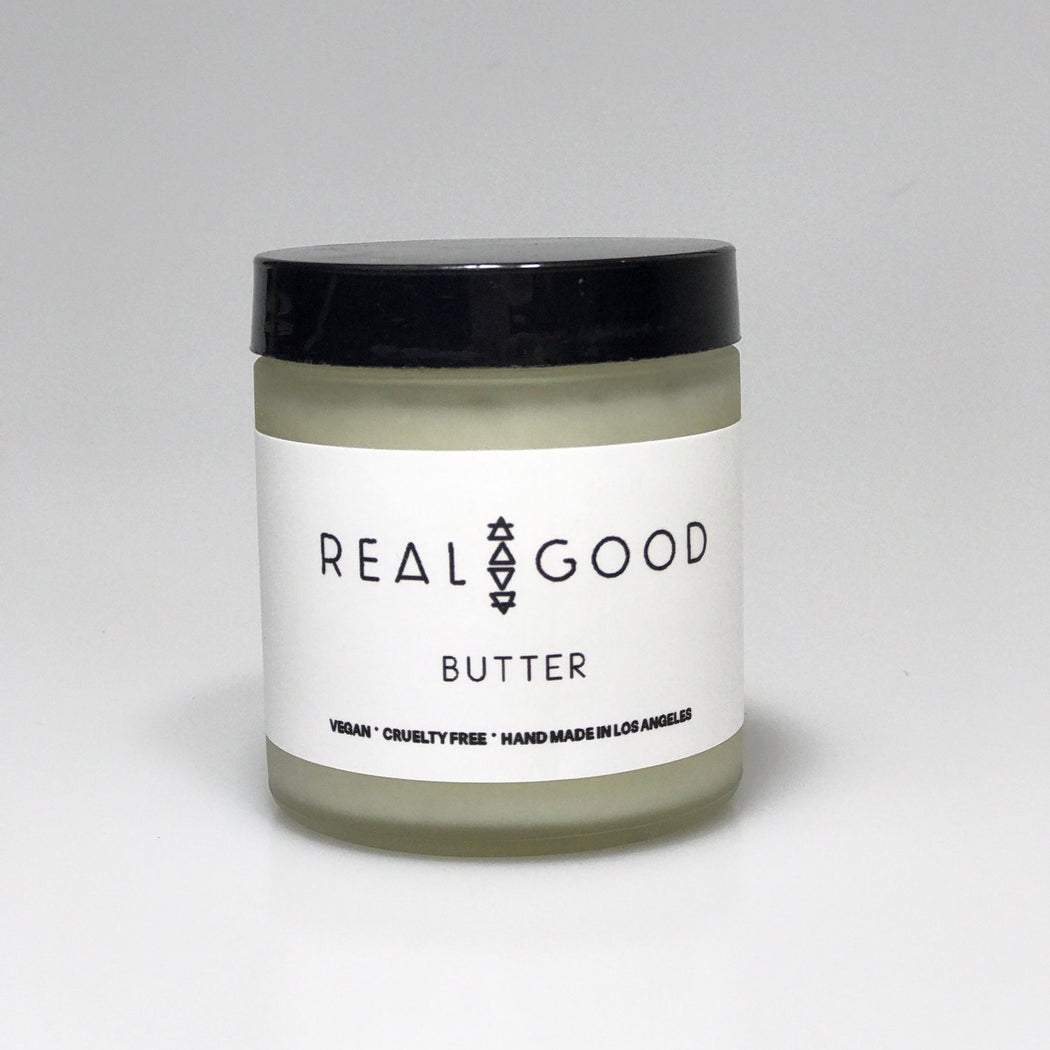 Real Good, skin smooth, glowy, all-natural, vegan, cruelty-free, body butter, Coconut oil, shea butter, hydrate, orange, tobacco, essential oils, energize