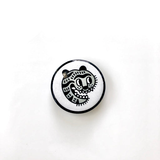 Small tiger, hey koneko logo pin, tattoo pin, vegan, cruelty free