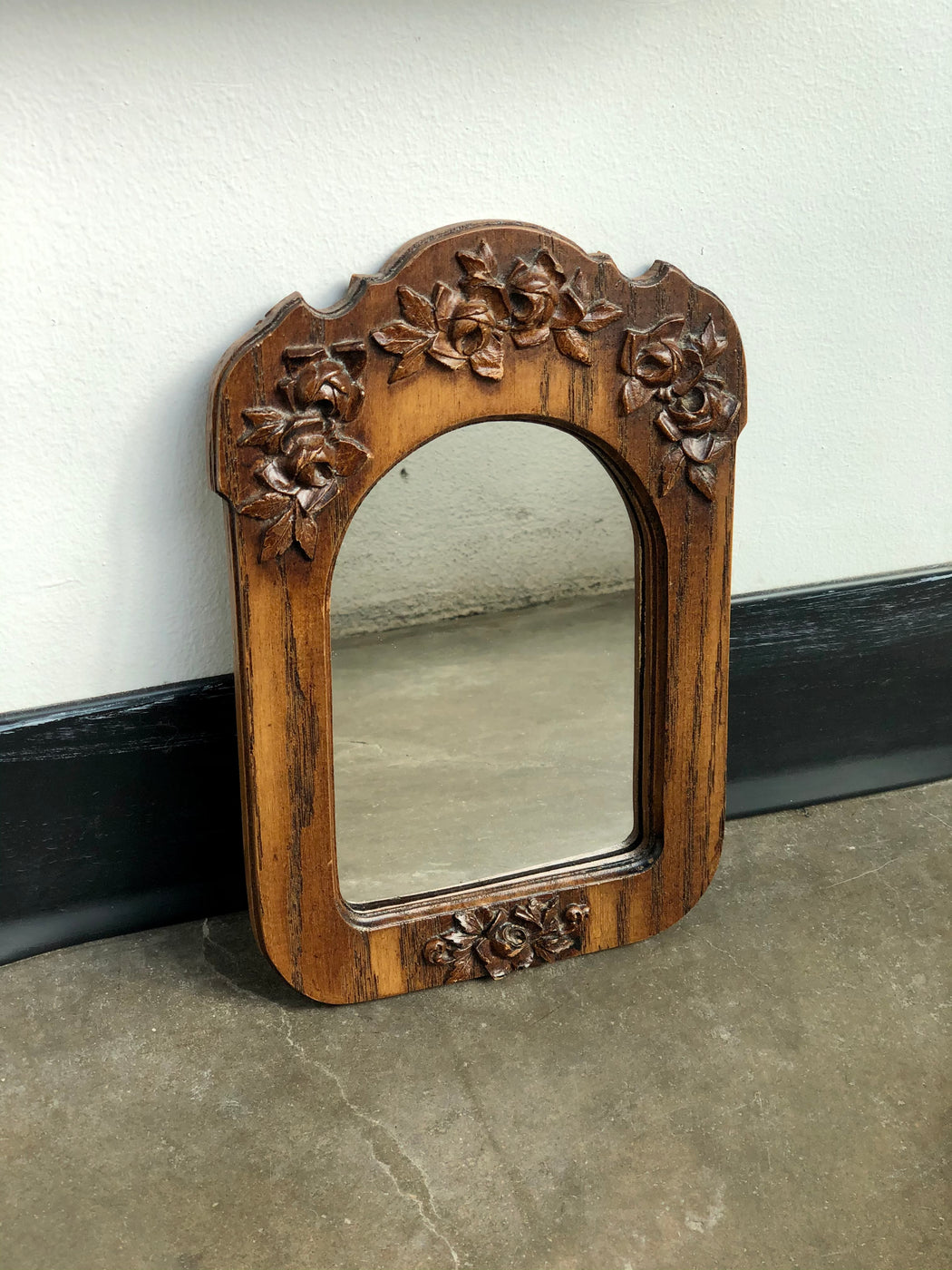 Vintage Wooden Mirror with Floral Carving