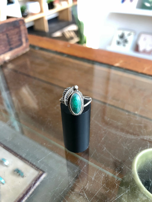 Vintage Pawn Native American Turquoise Ring With Feather