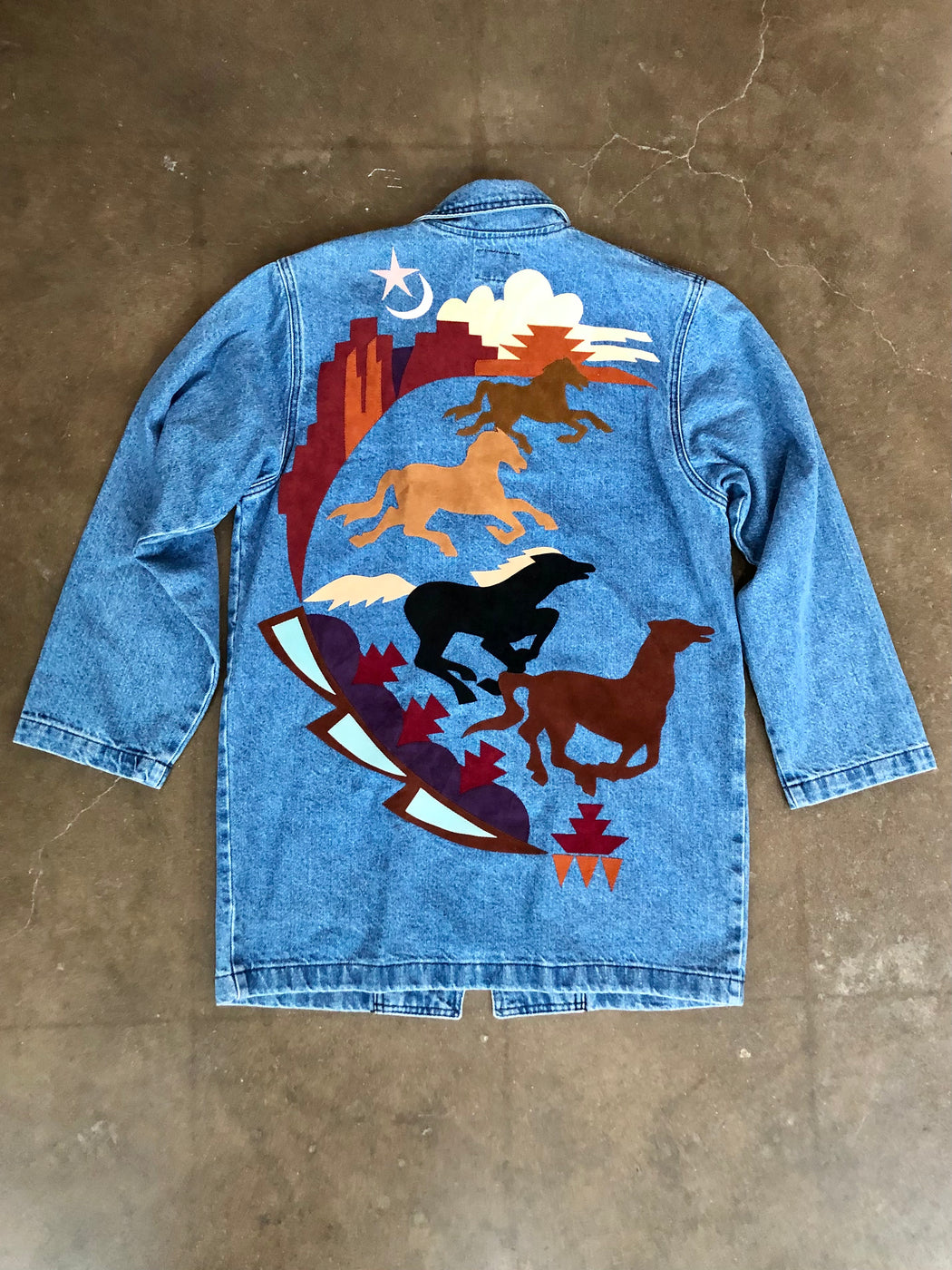 Southwestern Denim Jacket With Leather Patches