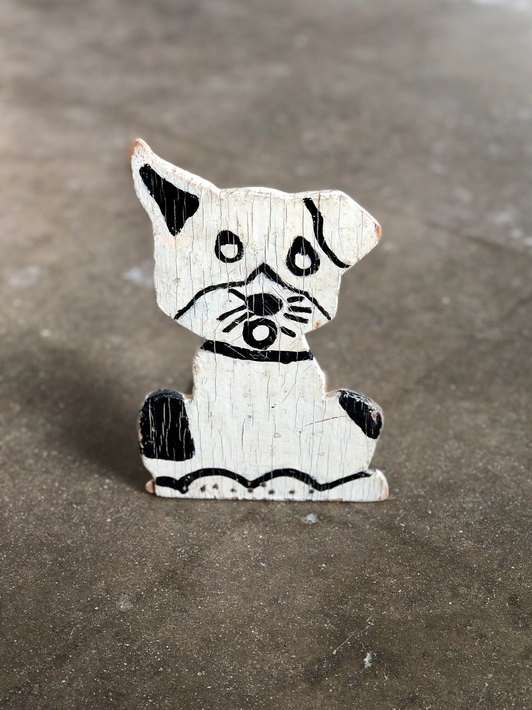 Vintage Handmade Wooden Dog Door Stop