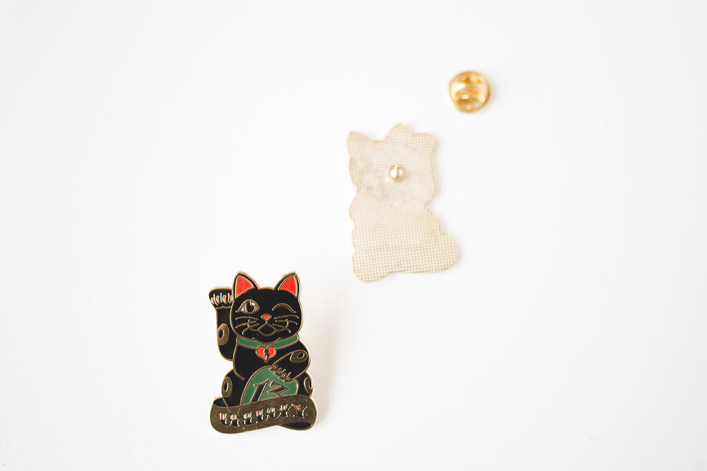 Unlucky Cat Lapel Pin