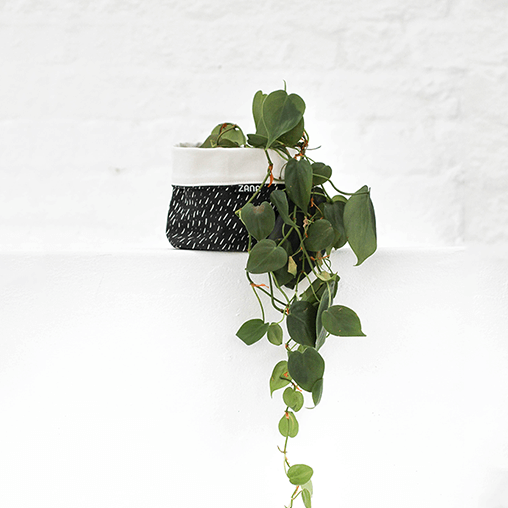 Black Specks Soft Pot, fabric planter, bathroom storage, organization, home goods, hand made, vegan, cruelty free, zana, all natural