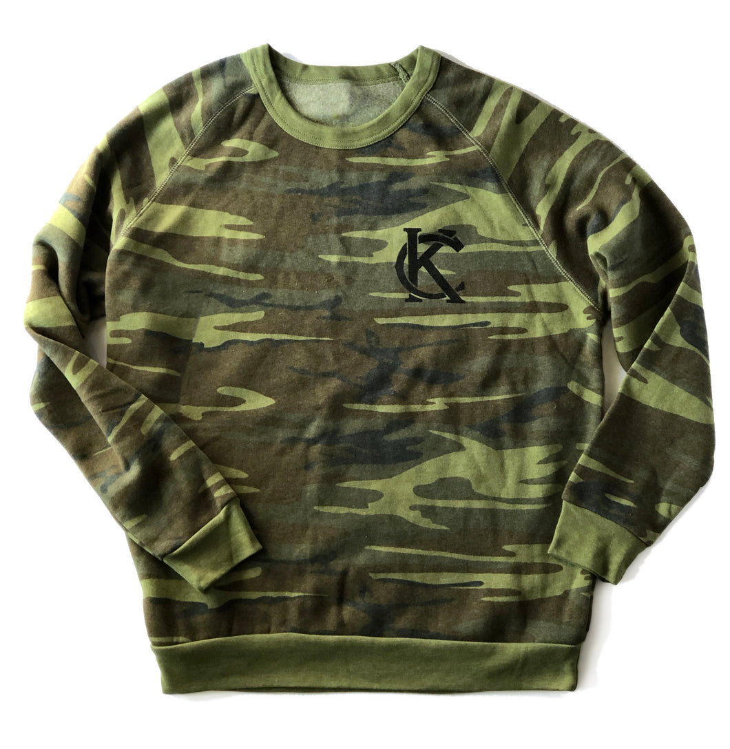 KC Logo Camo Adult Crewneck Sweatshirt