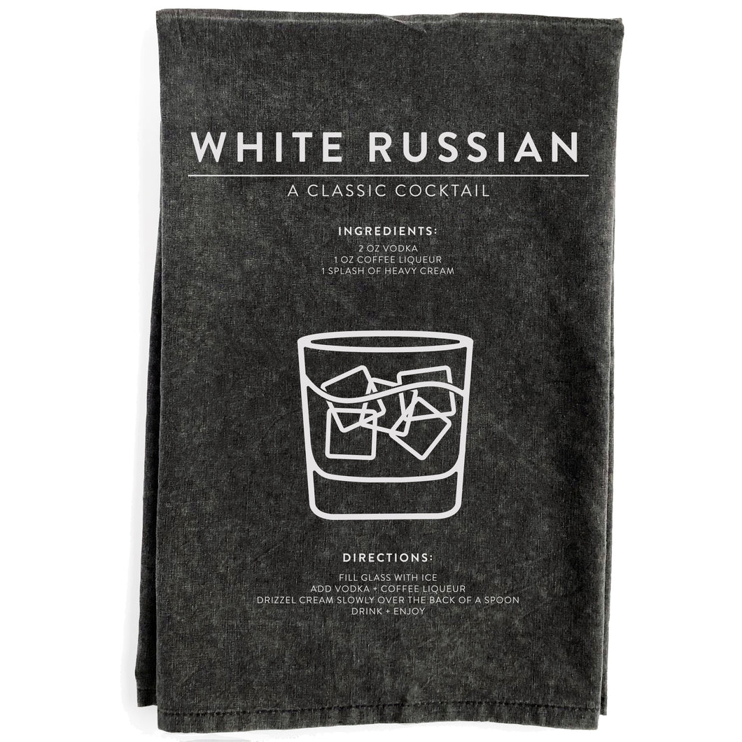 White Russian Black Towel