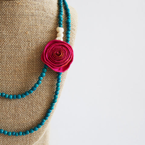 Getaway Necklace: Five in One . Pink & Turquoise