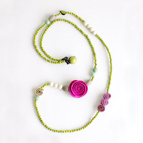 Charmed Getaway Necklace .   Pink & Applegreen
