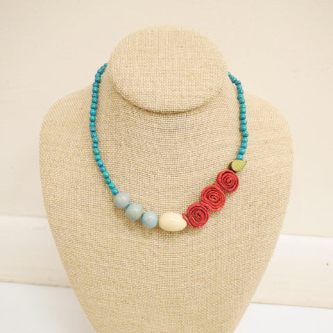 Life Necklace. Red & Turquoise