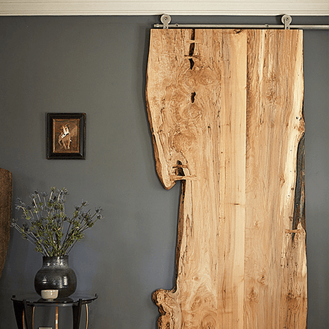8. Natural wood cut sliding barn door