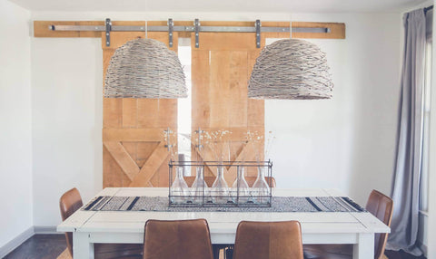 dining room with dual sliding hardware