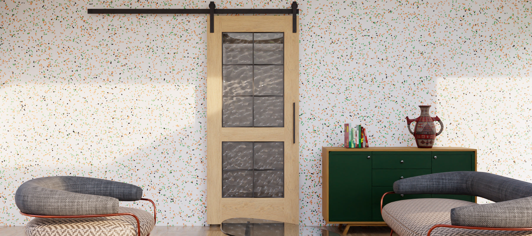 Double French Glass Sliding Barn Door by RealCraft
