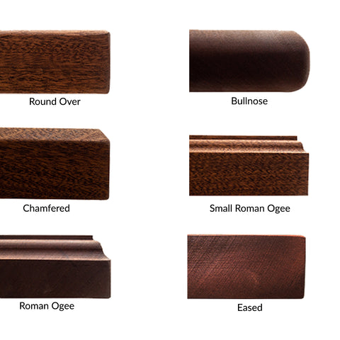 popular butcher block countertops edge styles: round over, bullnose, chamfered, small roman ogee, roman ogee, eased