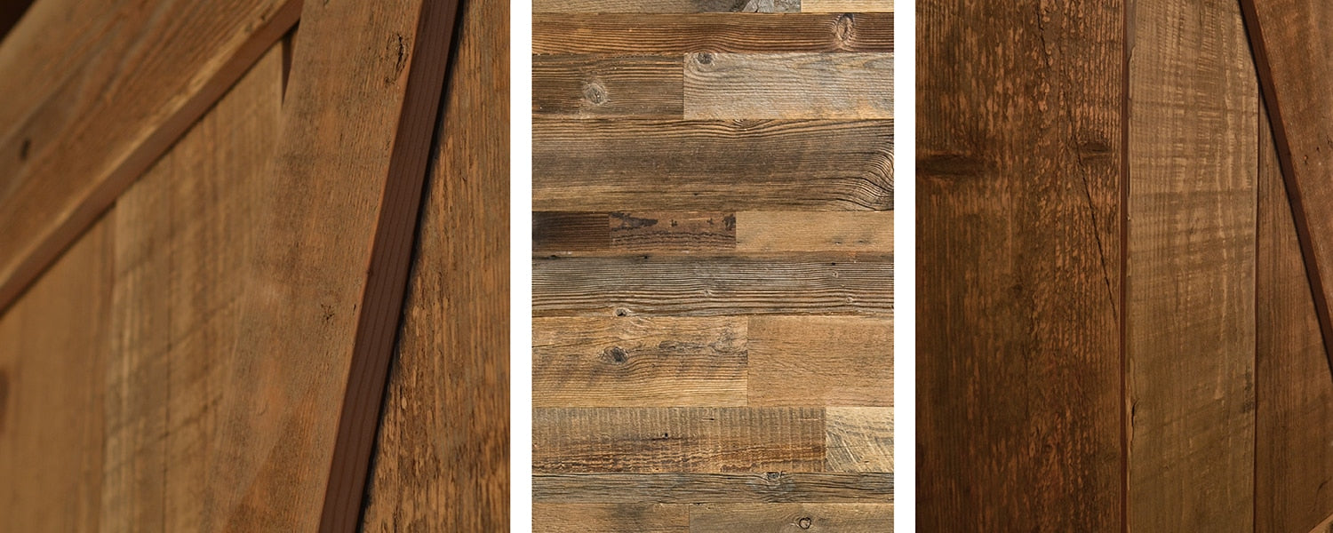 close up of reclaimed barn wood samples