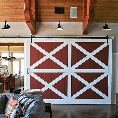 32. Classic red and white barn door inside