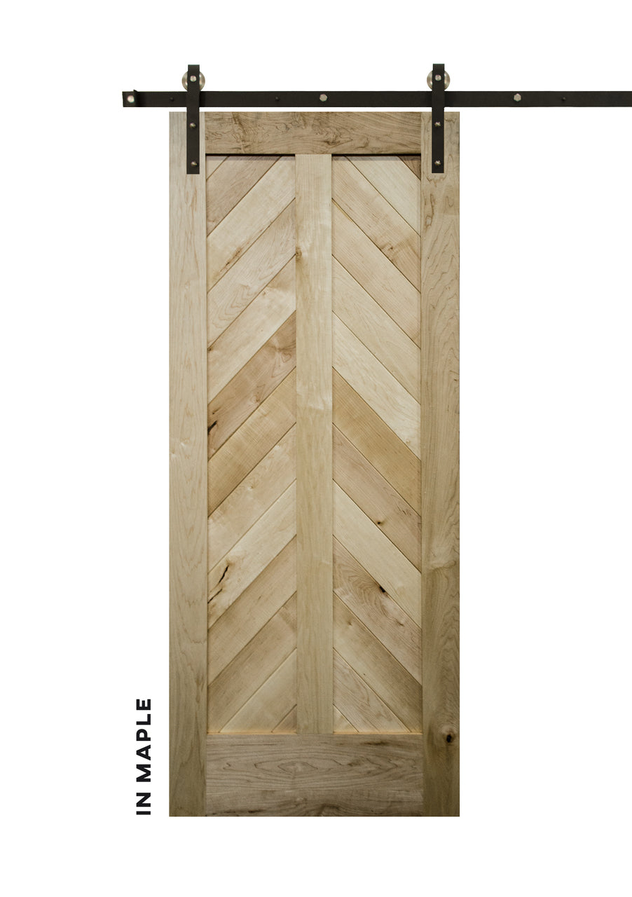 Mountain Chevron in Quartered Maple Barn Door