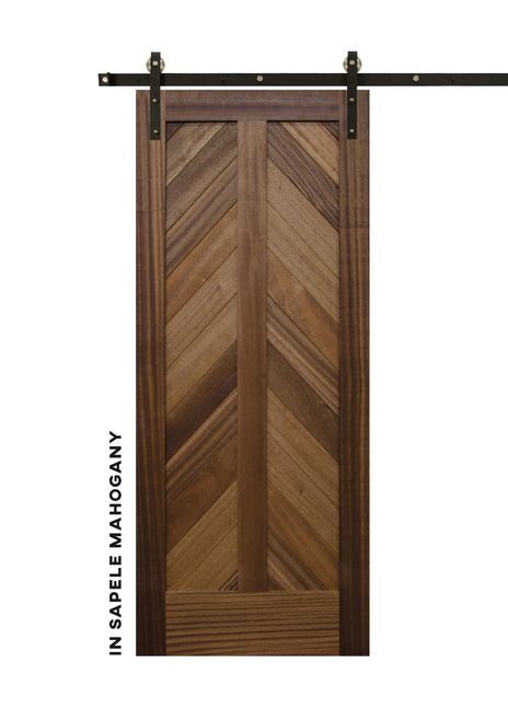 Mountain Chevron in Sapele Mahogany Barn Door
