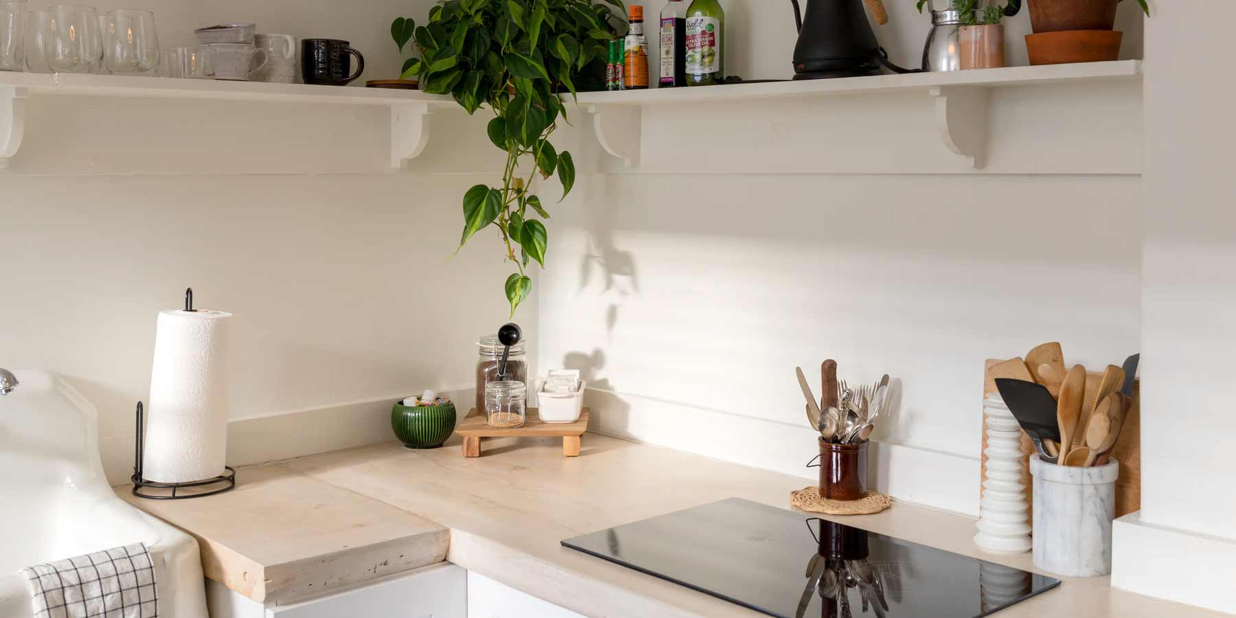 Boho Décor Ideas by RealCraft:  Kitchen space with light wood butcher block countertop