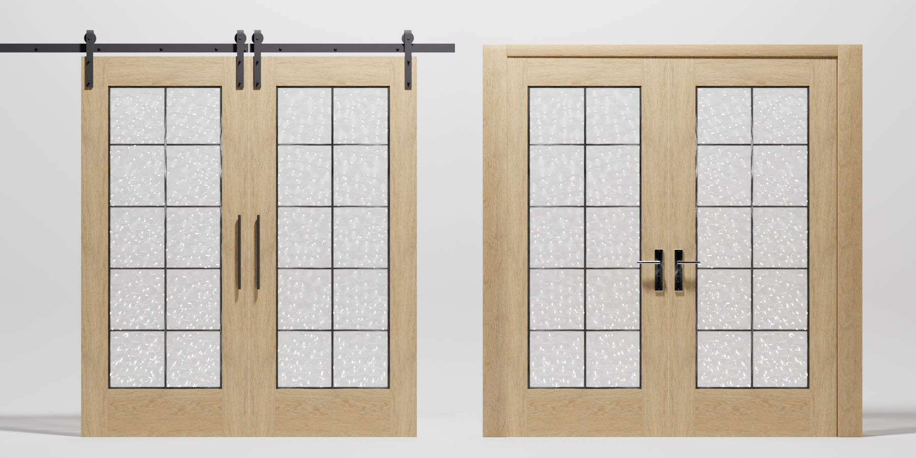Double Full French Glass Barn Door Design by RealCraft - Sliding and Swinging.