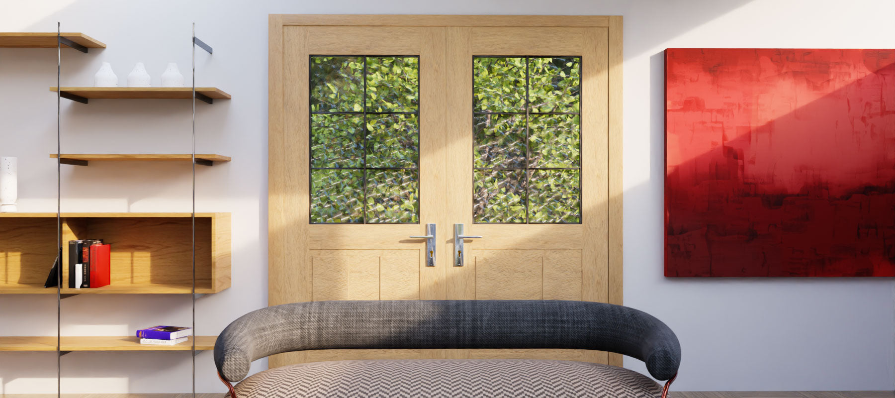 Half Glass French Door Design by RealCraft - Double swinging application
