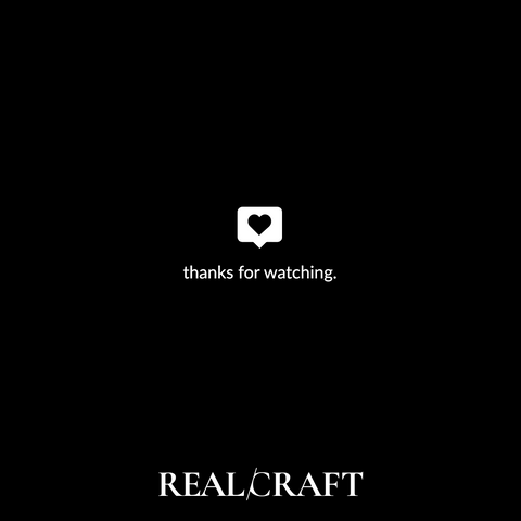RealCraft Wood Species 101 Series: Maple. Thank you note with black background and RealCraft logo