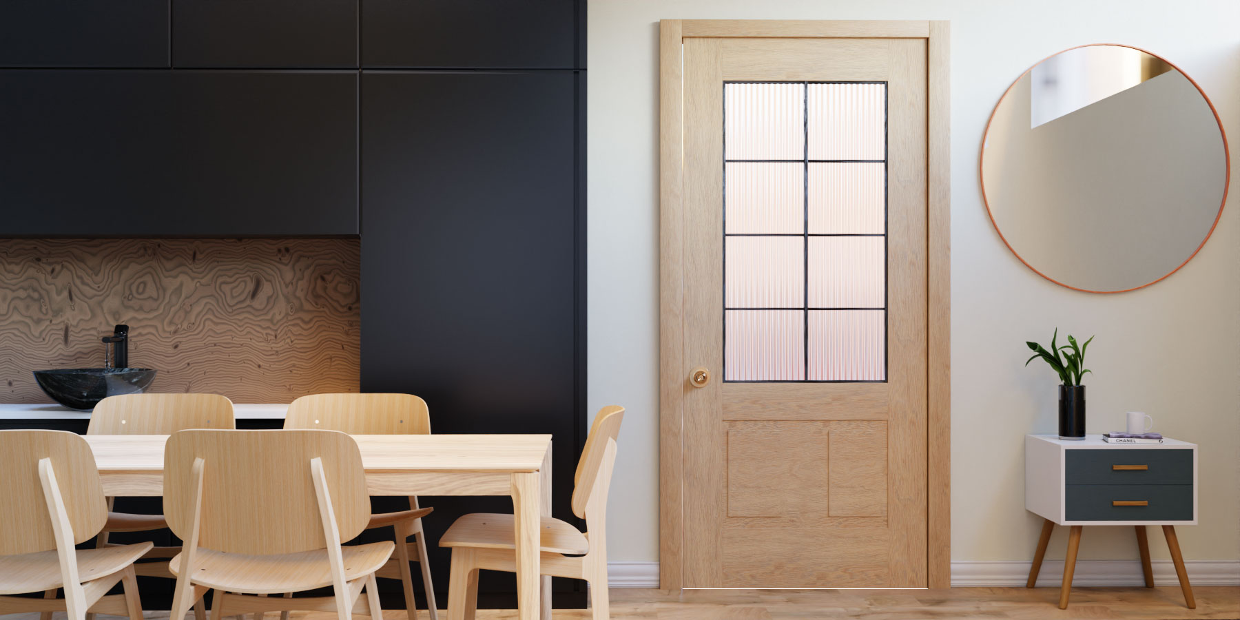 3/4 French Glass Sliding Barn Door by RealCraft