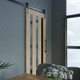 The Tacoma Sliding Barn Door With Vertical Glass Panels Photoshoot image 4 - RealCraft
