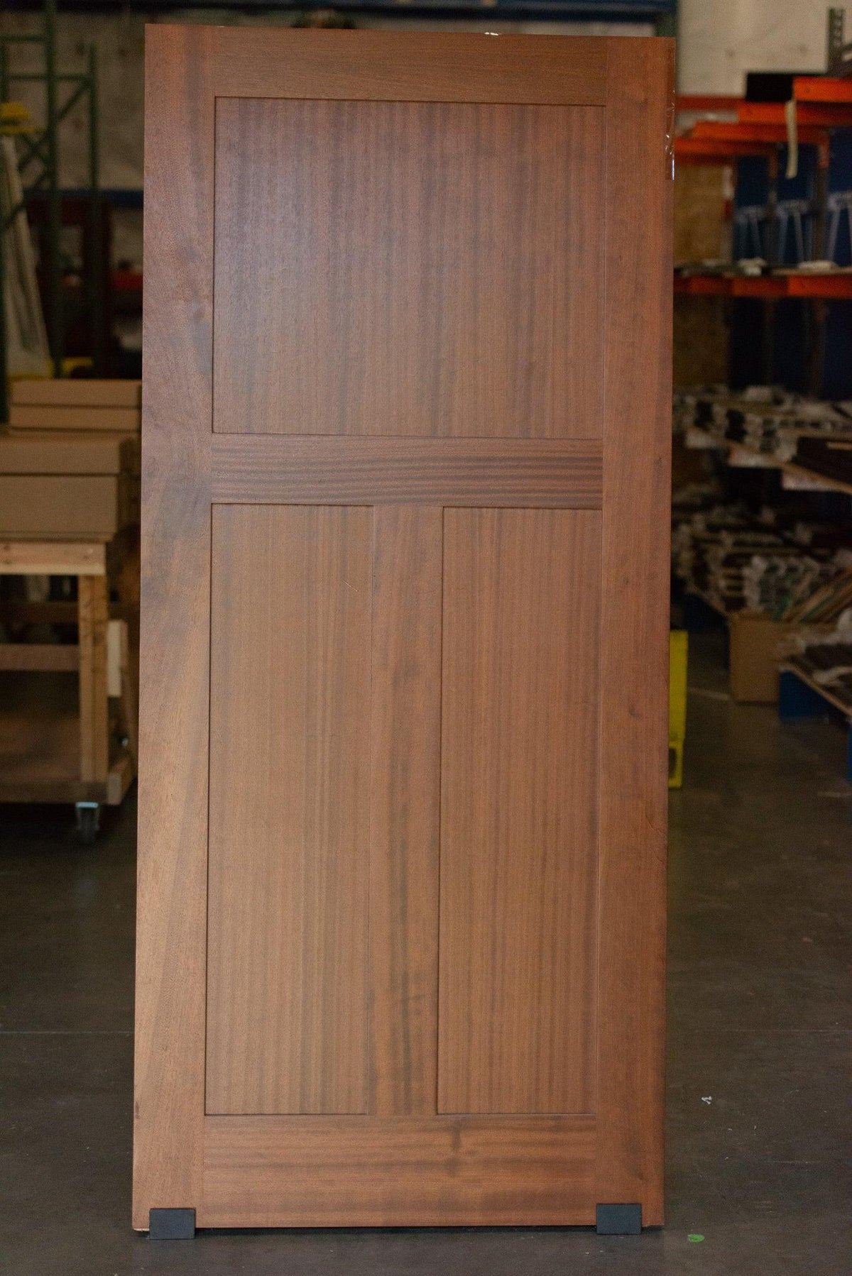 "81""H x 36""W Sapele Mahogany Shaker Style Low T Panel Barn Door - Sliding Barn Door Hardware by RealCraft"