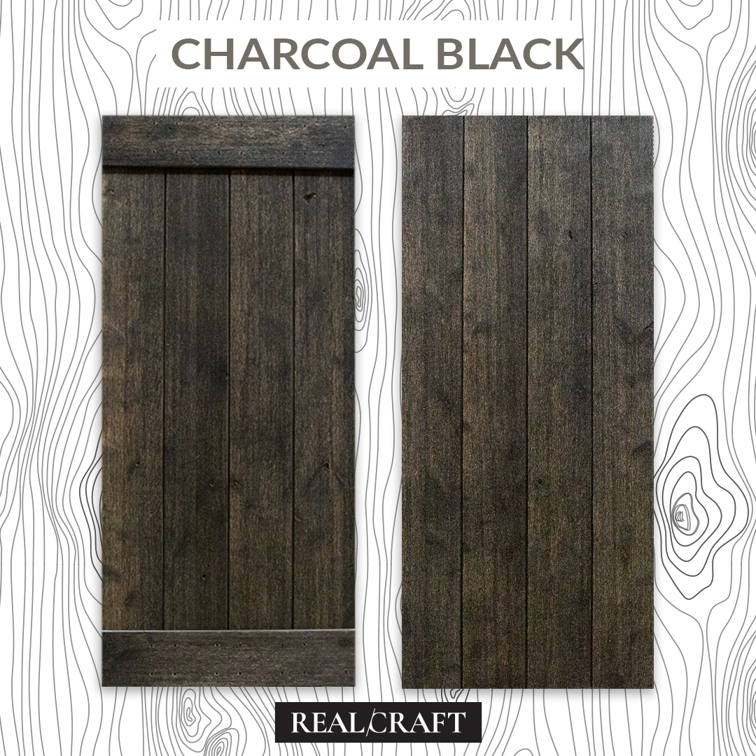 Charcoal Black Weathered Wood Sliding Barn Door Kit by RealCraft