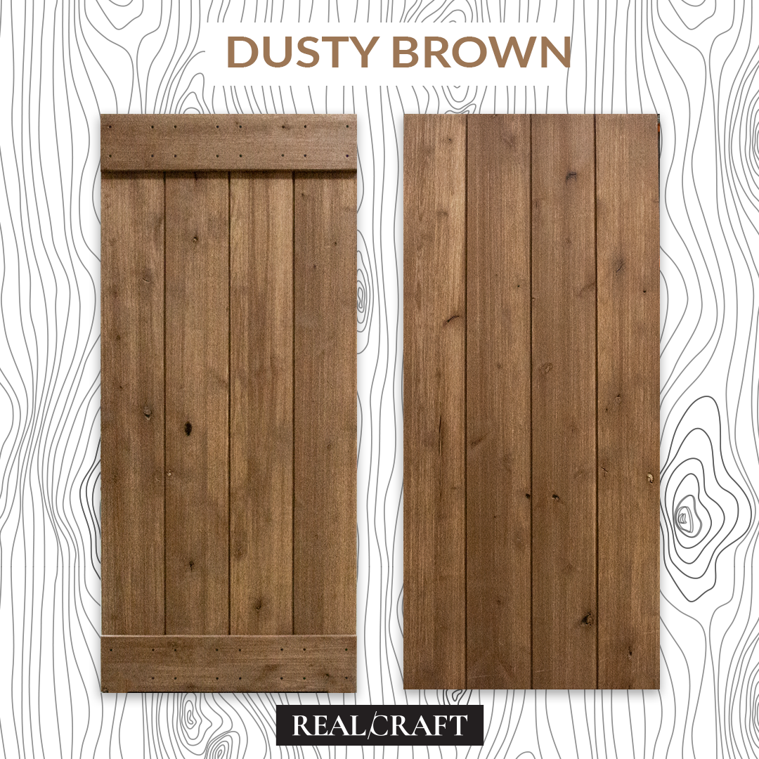 Dusty Brown Weathered Wood Sliding Barn Door Kit by RealCraft