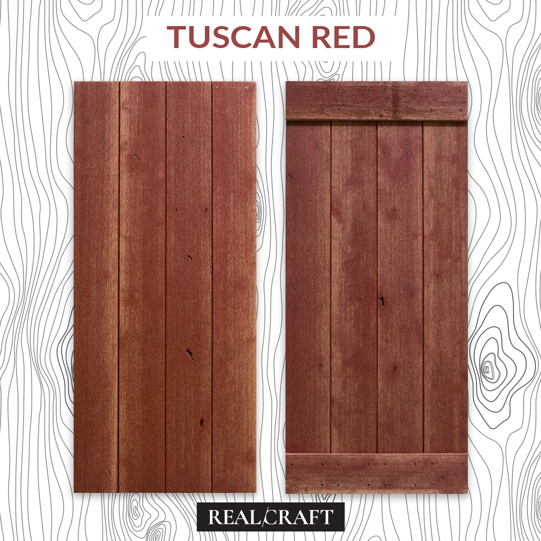 Tuscan Red Weathered Wood Sliding Barn Door Kit by RealCraft