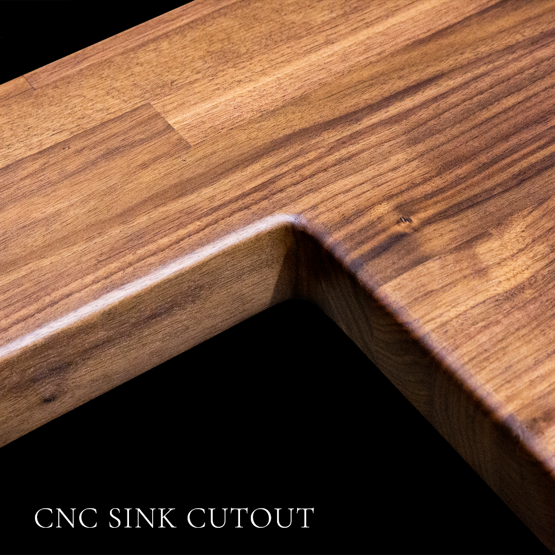 Walnut Butcher Block Countertop with CNC Sink Coutout by RealCraft