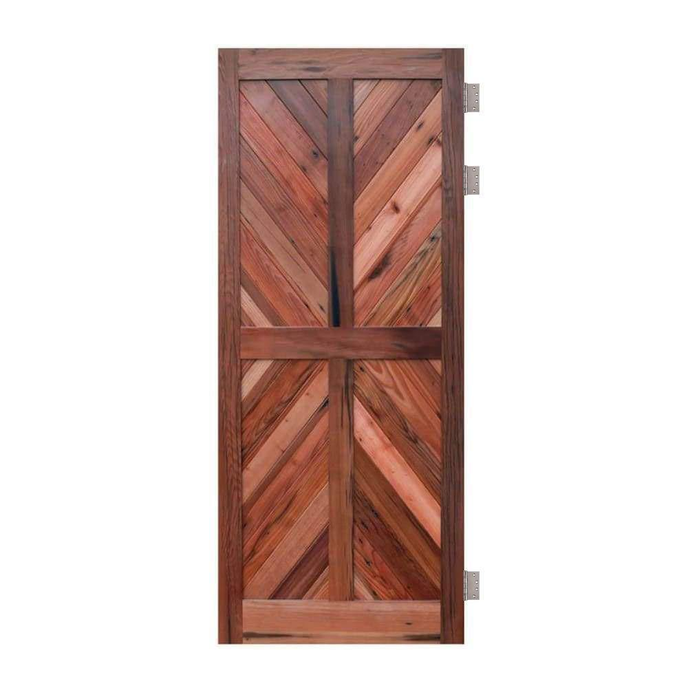 Chevron RedWood Four Panel Swinging Barn Door - Sliding Barn Door Hardware by RealCraft