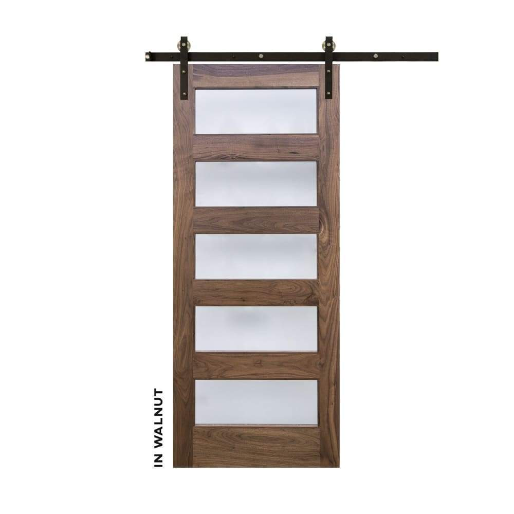 Five Panel Horizontal Sliding Glass Barn Door - Sliding Barn Door Hardware by RealCraft