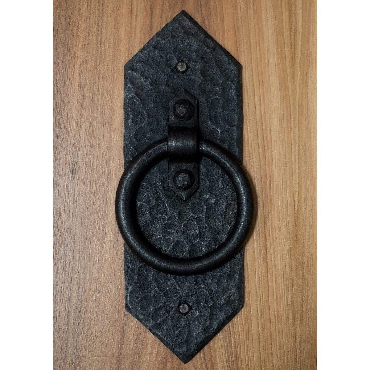 Hand Forged Diamond Rustic Ring Door Pull - Sliding Barn Door Hardware by RealCraft