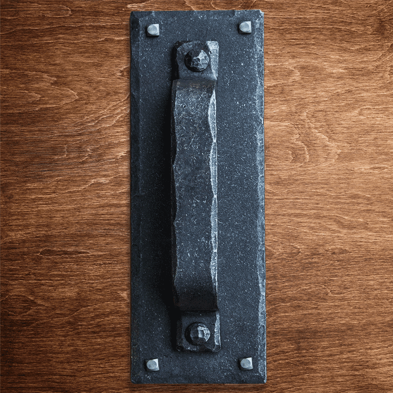 Hand Forged Rectangular Rustic Barn Door Pull Handle with Plate - Sliding Barn Door Hardware by RealCraft