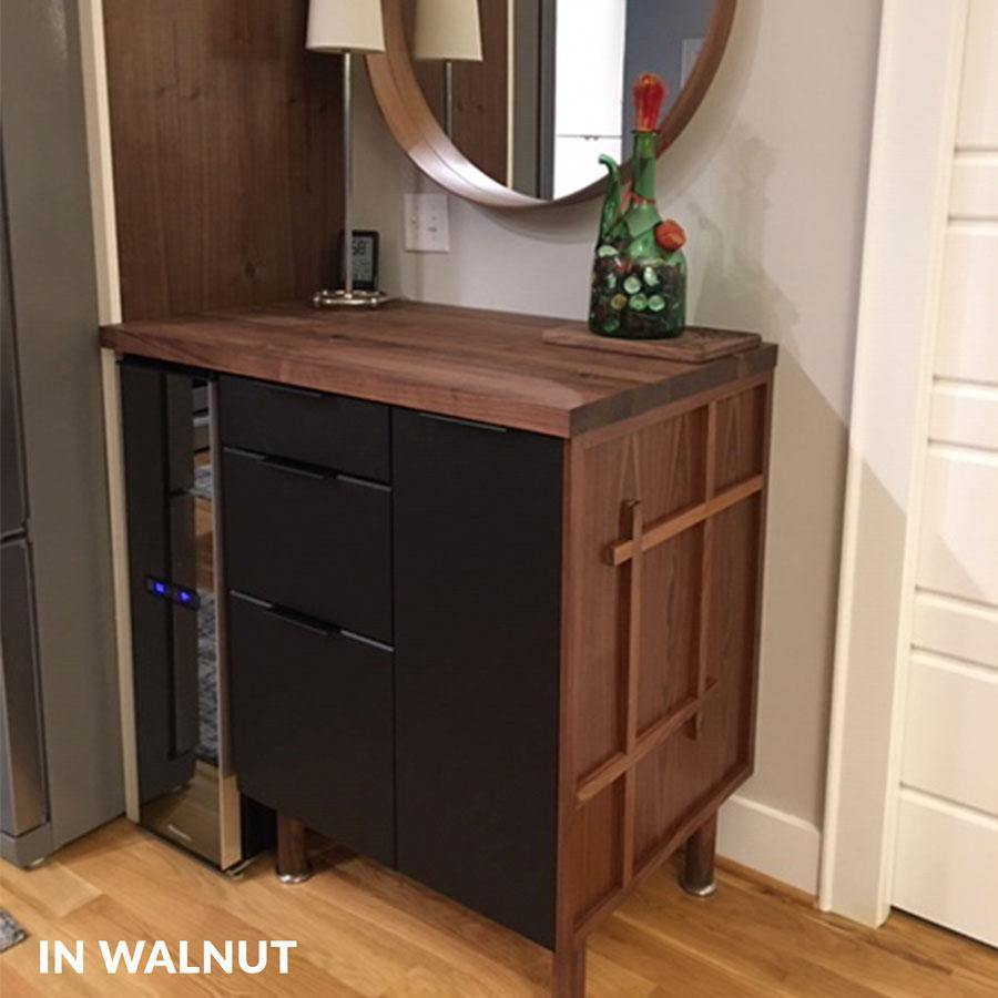 RealCraft's Walnut Butcher Block Countertop on top of a cabinet