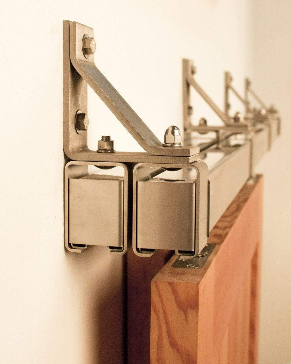 Stainless Box Rail Bypass Barn Door Hardware 400 Lb Realcraft