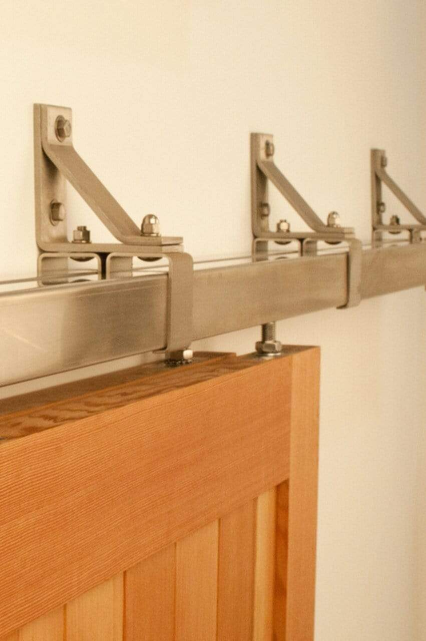 Stainless Steel Box Rail Bypass Barn Door Hardware Interior & Exterior (400 lb) - Sliding Barn Door Hardware by RealCraft