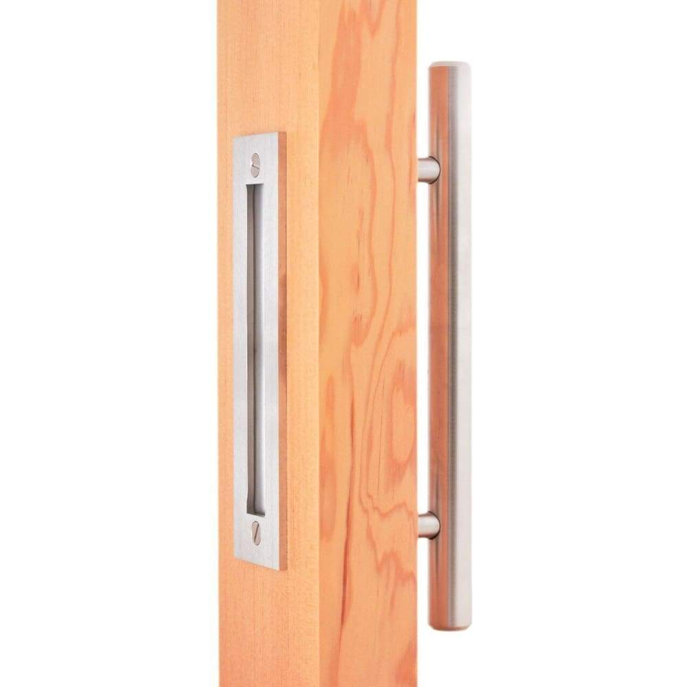 Stainless Swiss Rod Barn Door Handle & Flush Pull Set - Sliding Barn Door Hardware by RealCraft