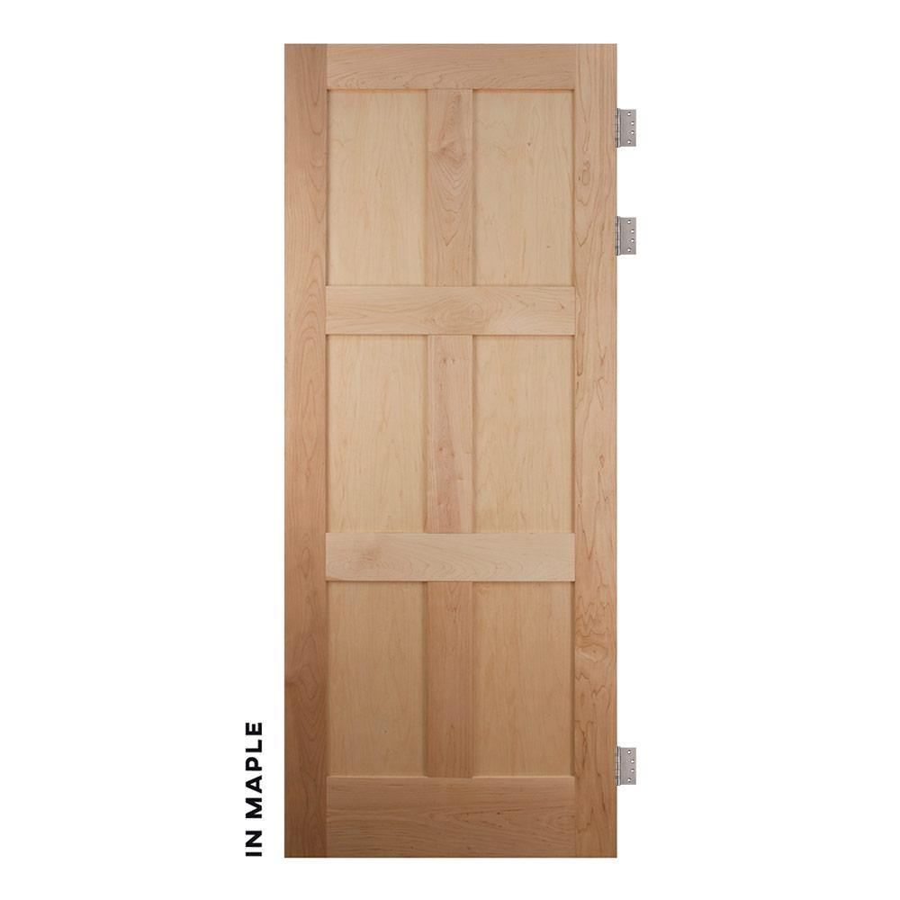 Mid-Century Maple Modern 6 Panel Swinging Door - Sliding Barn Door Hardware by RealCraft