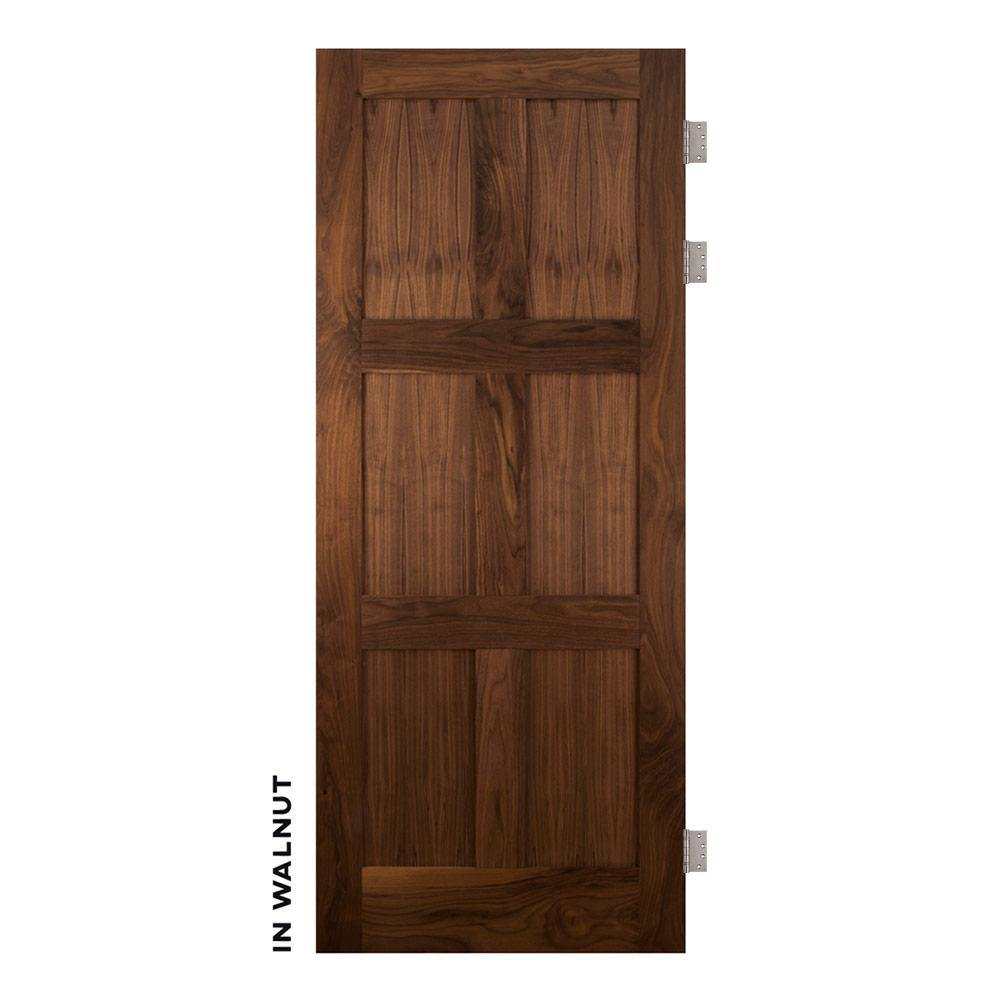 Mid-Century Walnut Modern 6 Panel Swinging Door - Sliding Barn Door Hardware by RealCraft